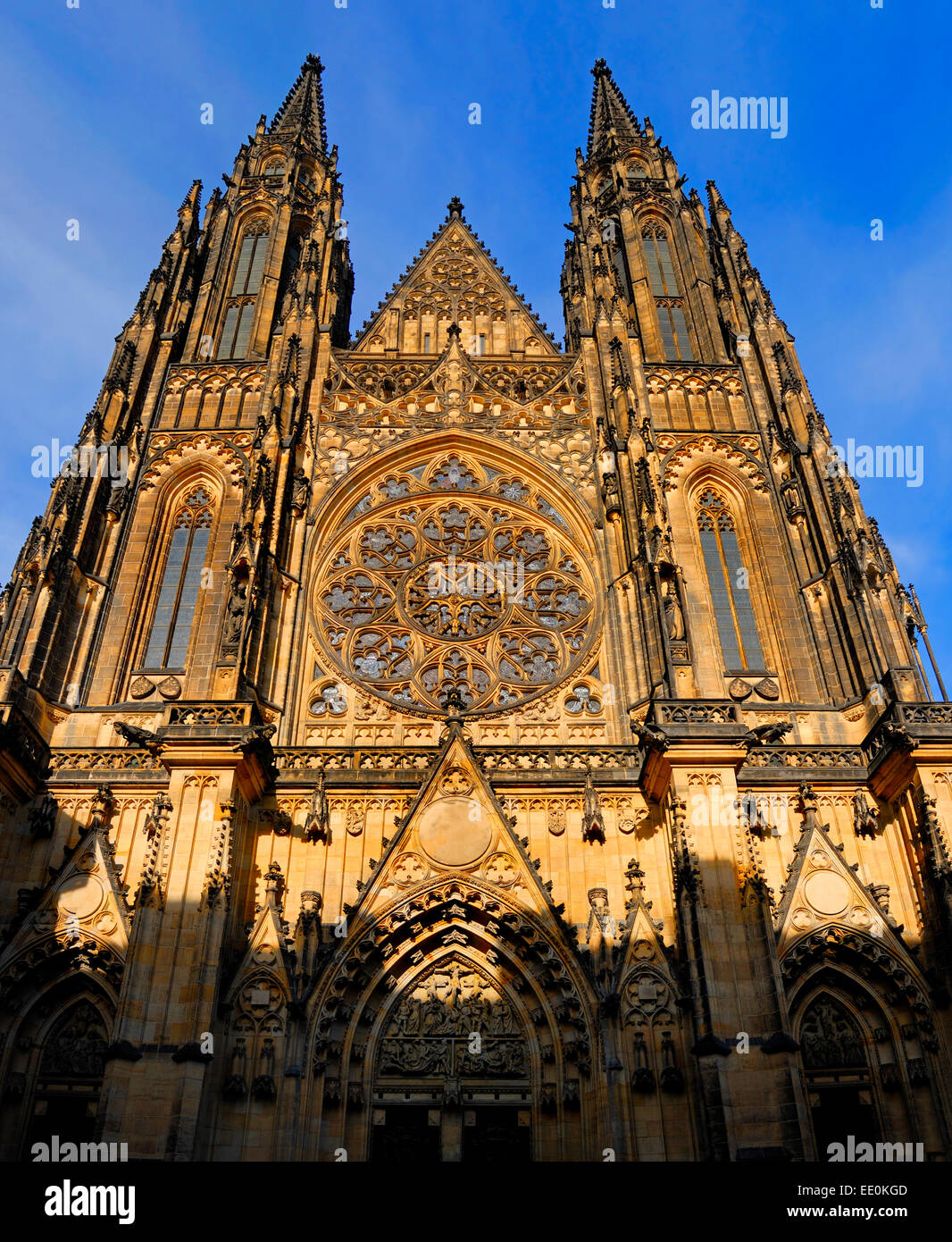 Prague, Czech Republic. St Vitus Cathedral facade - Stock Image