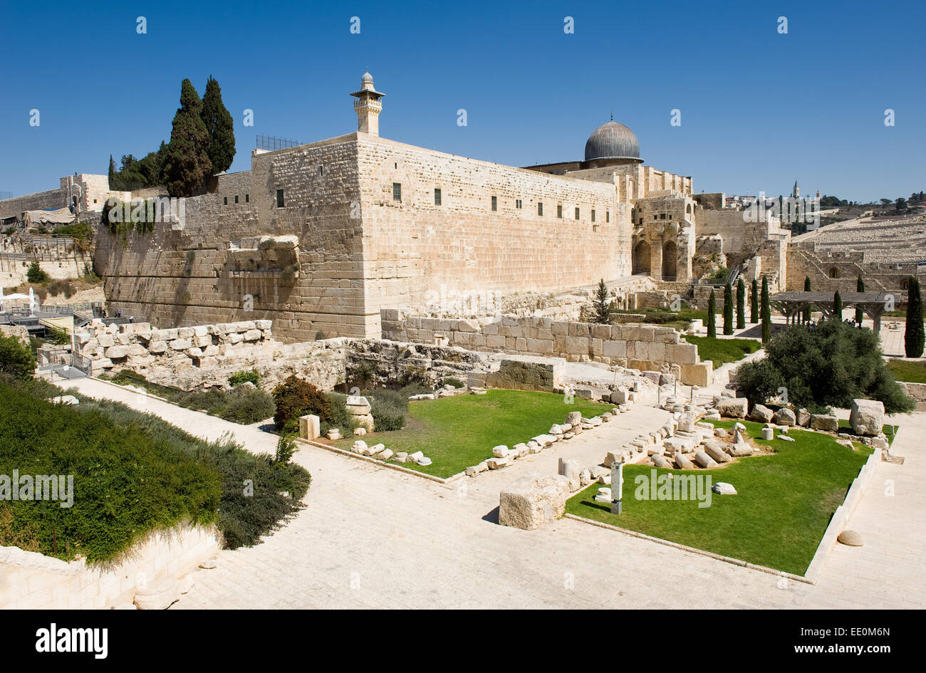 The southwest corner of the temple mount in Jerusalem. - Stock Image