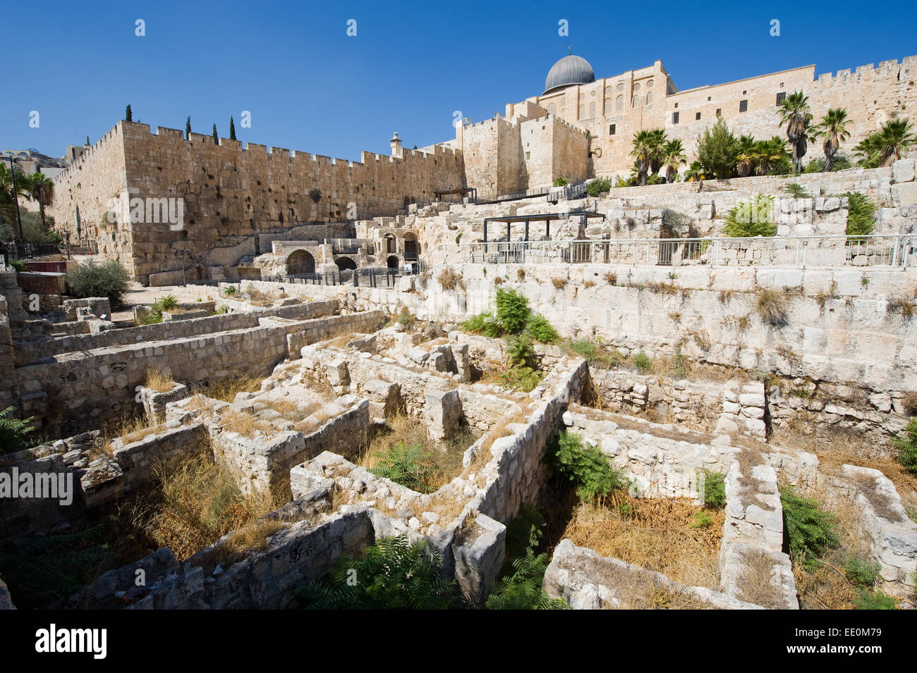 Ruins and remains in 'the ophel archaeological garden' just south of the temple mount in Jerusalem, in the - Stock Image