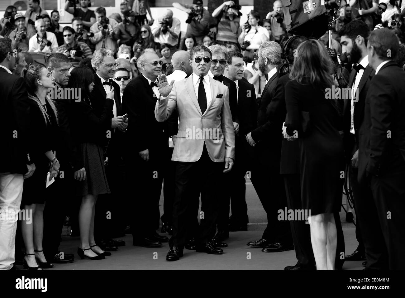 CANNES, FRANCE - MAY 18: Sylvester Stallone attends 'The Expendables 3' Premiere during the 67th Cannes Film Festival Stock Photo