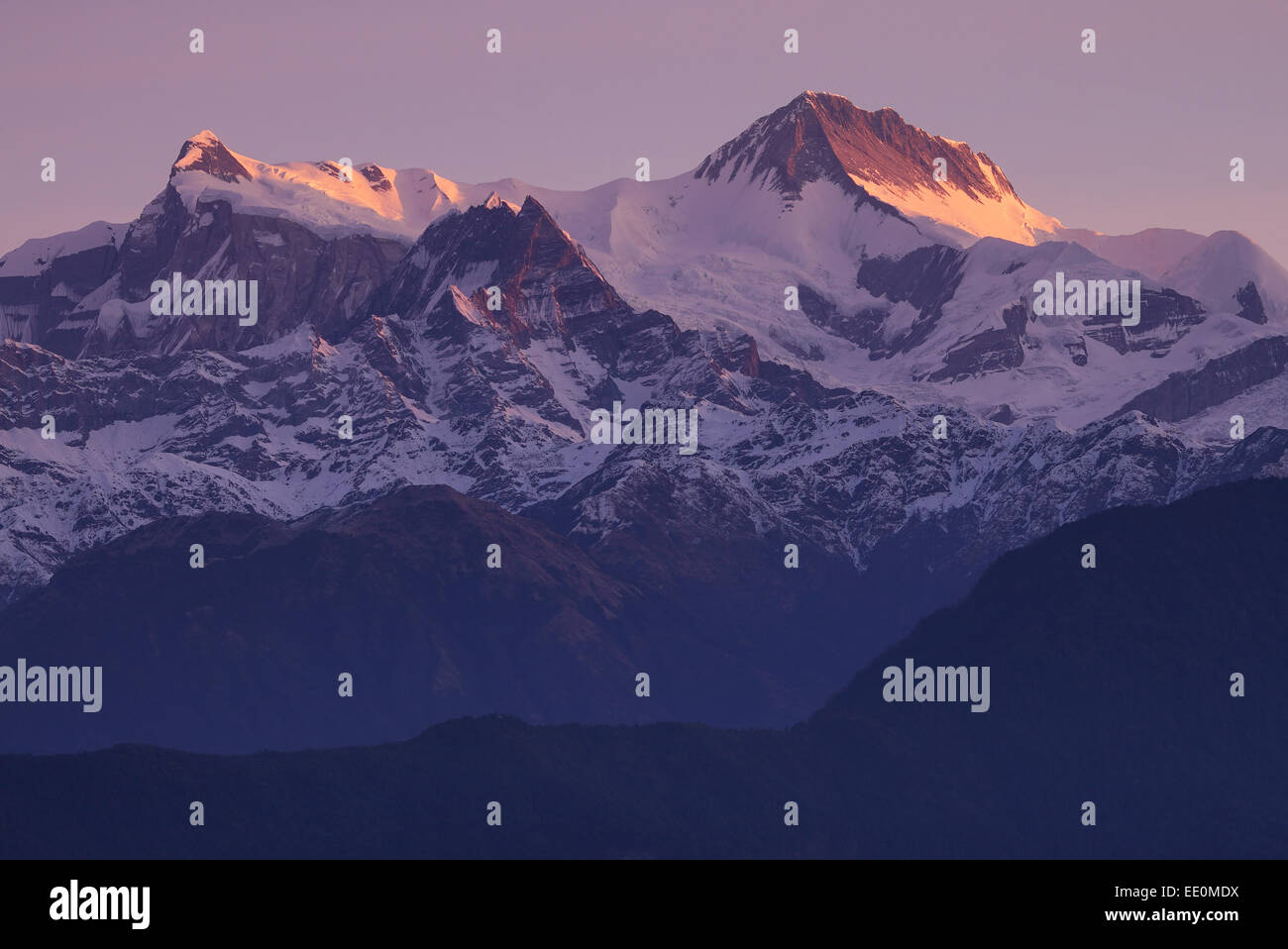 Sunrise over Annapurna II of the Annapurna range in the Himalayas - Stock Image