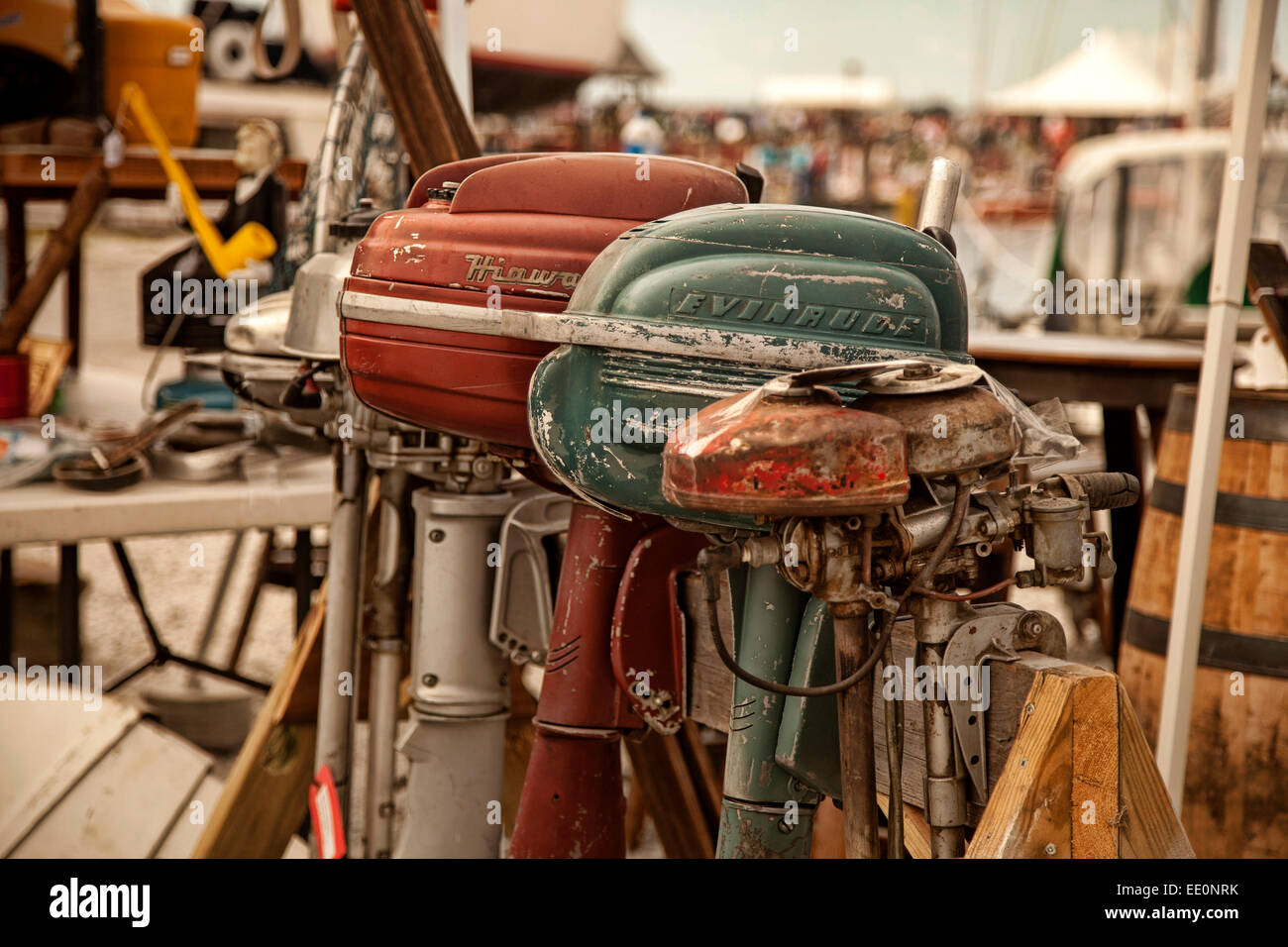 Antique, boat motors at boat show and festival - Stock Image