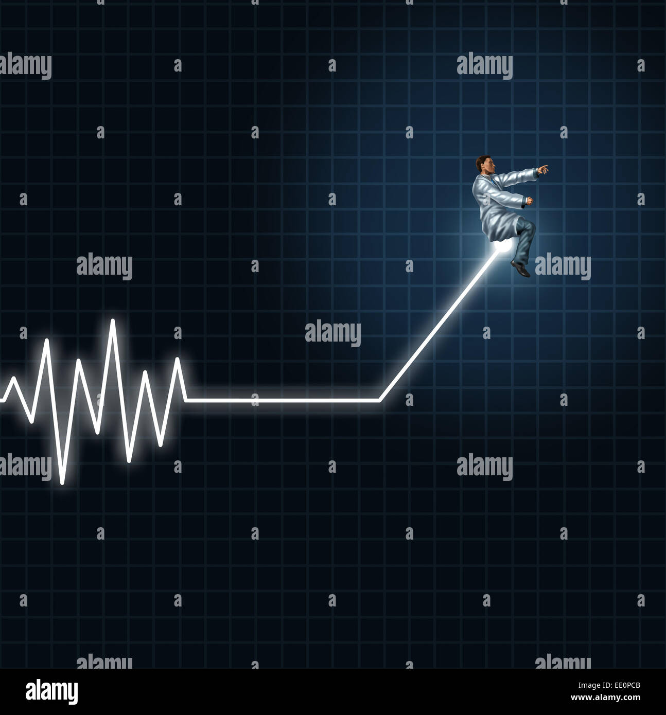 Medical health concept as a physician or researcher guiding and managing an ecg or ekg monitor light out of flat - Stock Image