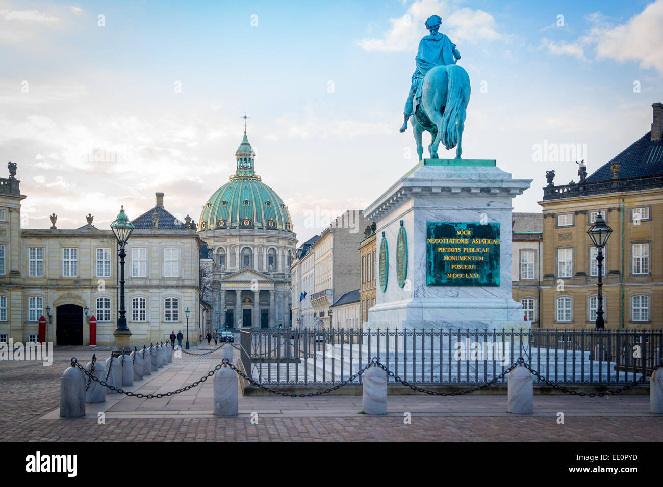 Amalienborg, The Queen's Winter Residence with Frederik's Church in the background. Copenhagen, Denmark Stock Photo