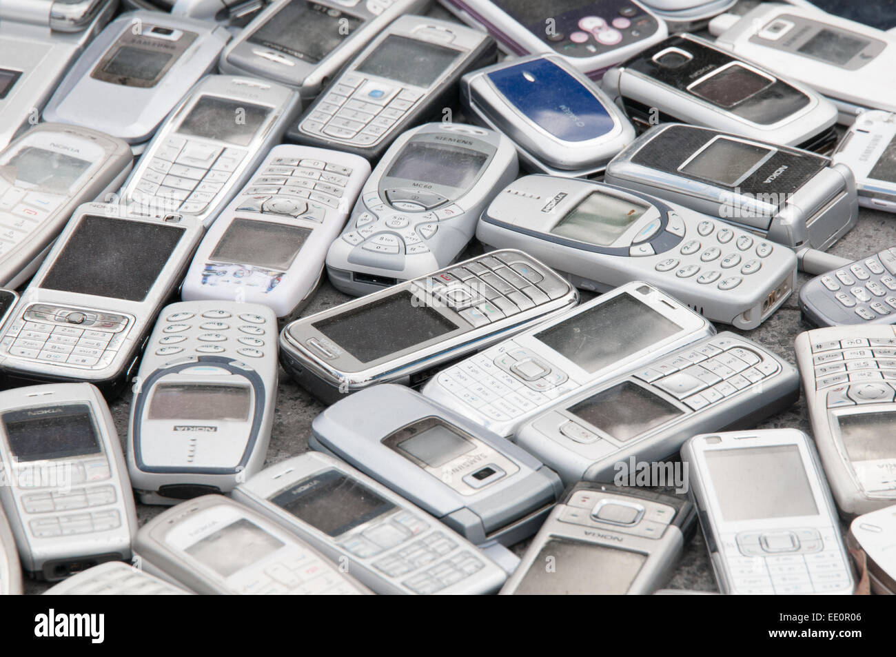 Discarded mobile phones - Stock Image