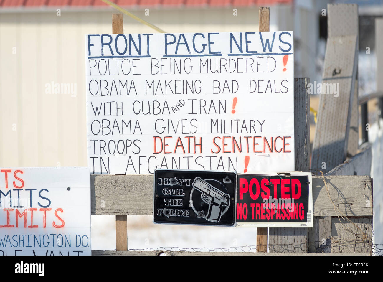 Right wing anti-Obama political signs in the yard of a house in North Powder, Oregon. - Stock Image