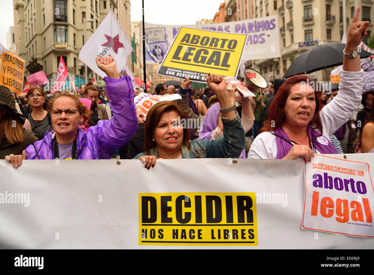 Women protesting and demanding no restrictions in the abortion reform law proposed by the Minister of Justice, A. - Stock Image