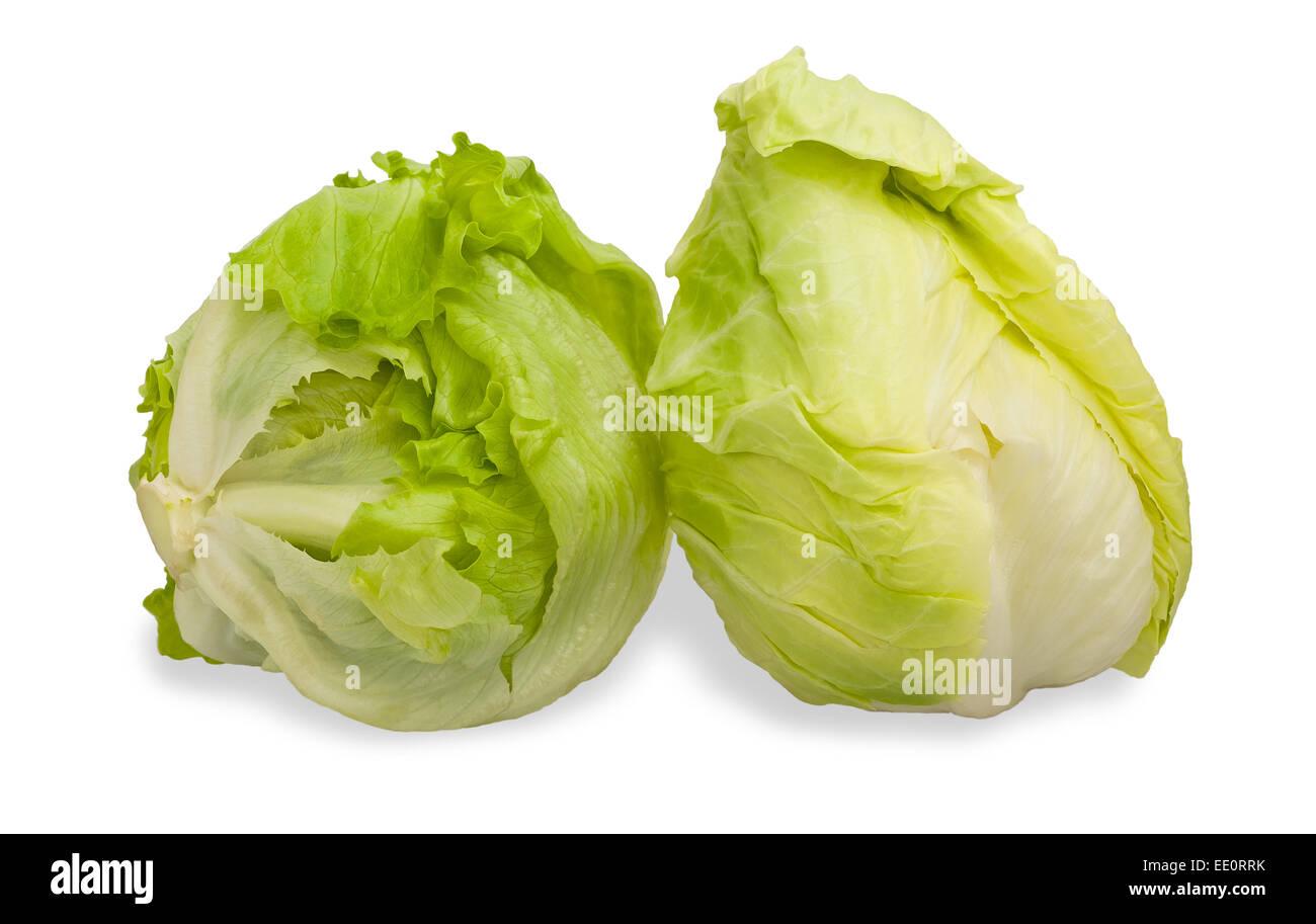 Green Iceberg lettuce isolated on White Background - Stock Image