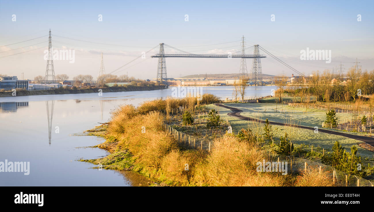 The River Usk and the Transporter Bridge in Newport City. - Stock Image