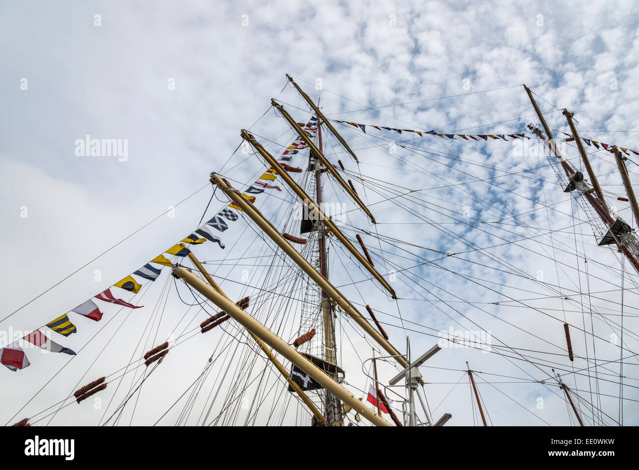Mast, rigging and flags on the Tall Ship sailing vessel - EDITORIAL USE ONLY - Stock Image