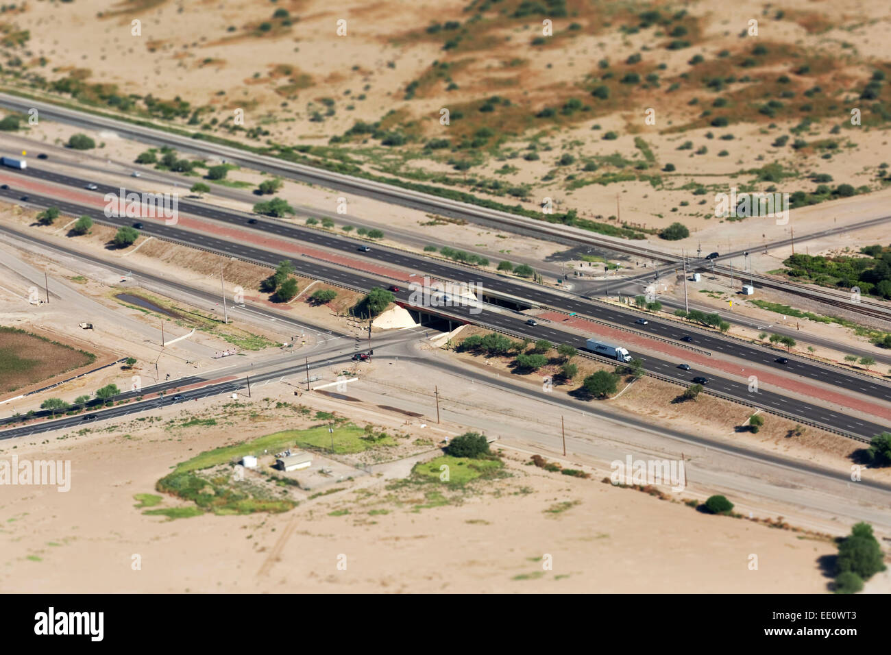 Aerial of Miniature Interstate 10, Arizona - Stock Image