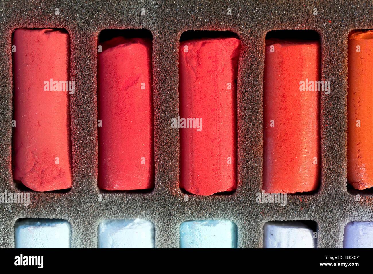 Chalk Pastel Set, red pigmented pastels - Stock Image
