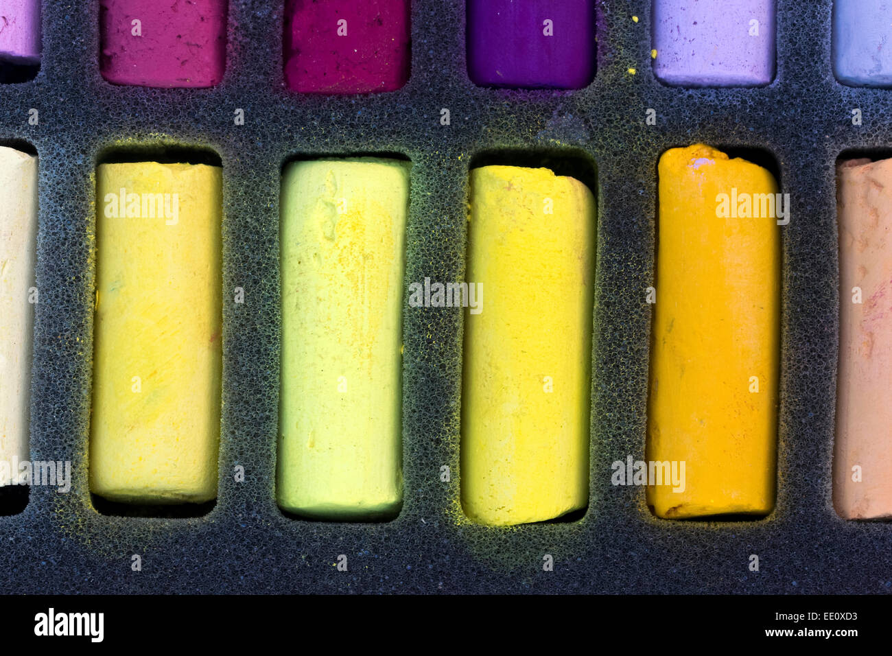 Chalk Pastel Set, yellow pigmented pastels - Stock Image