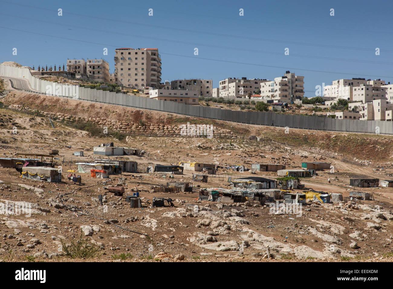 Separation barrier between East and West Jerusalem, Israel - Stock Image