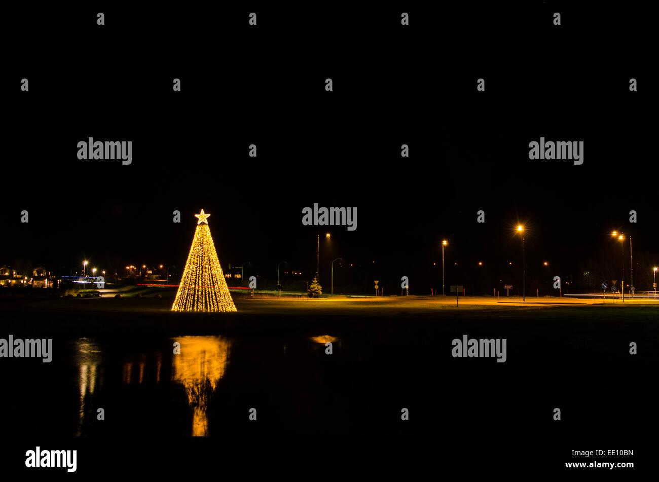 Outdoors view at an illumination lika a christmas tree - Stock Image