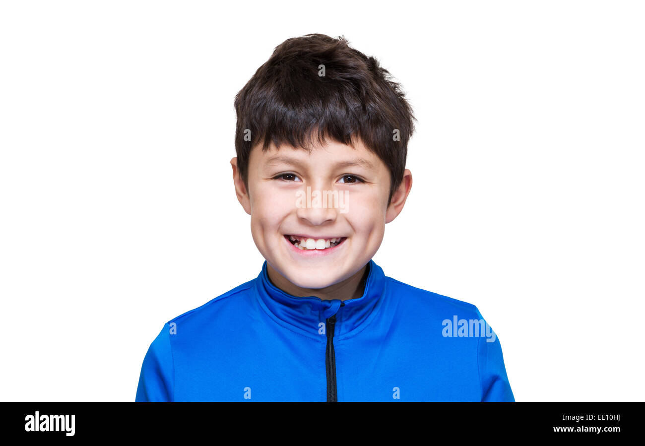 Young modern boy in blue jacket on white background - Stock Image