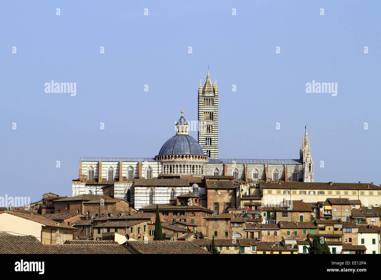 Italien, Toskana, Siena, Stadtansicht, Dom, Duomo Santa Maria Assunta - Stock Image