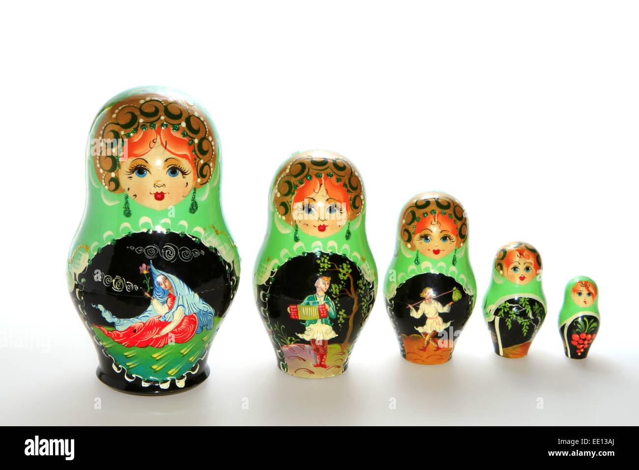 Matrjoschka, Matroschka, volkstuemliche russische Holzpuppe, Schachtelpuppe Stock Photo