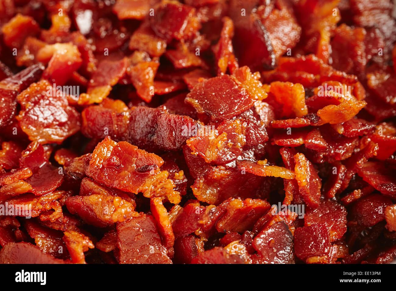 chopped bacon frying Stock Photo - Alamy