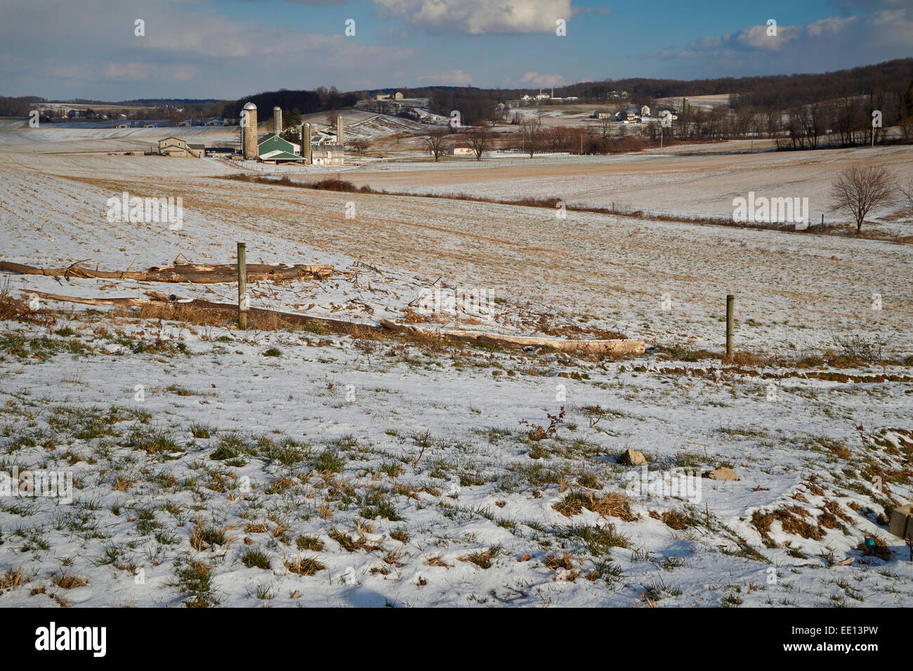 early snow cover, Lancaster, PA, USA - Stock Image
