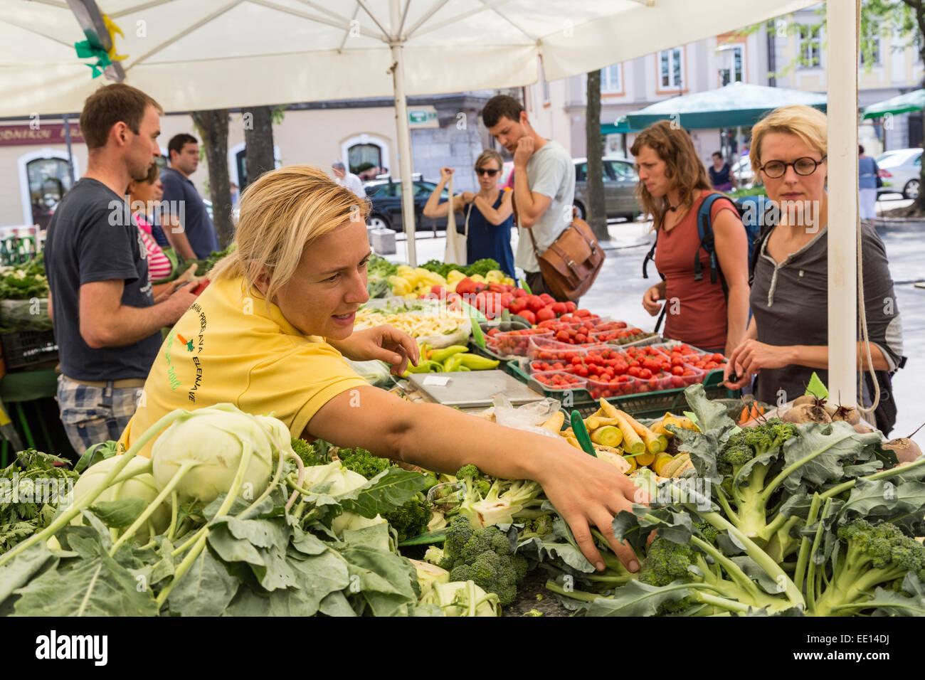 Market stall selling vegetables, Ljubljana, Slovenia - Stock Image