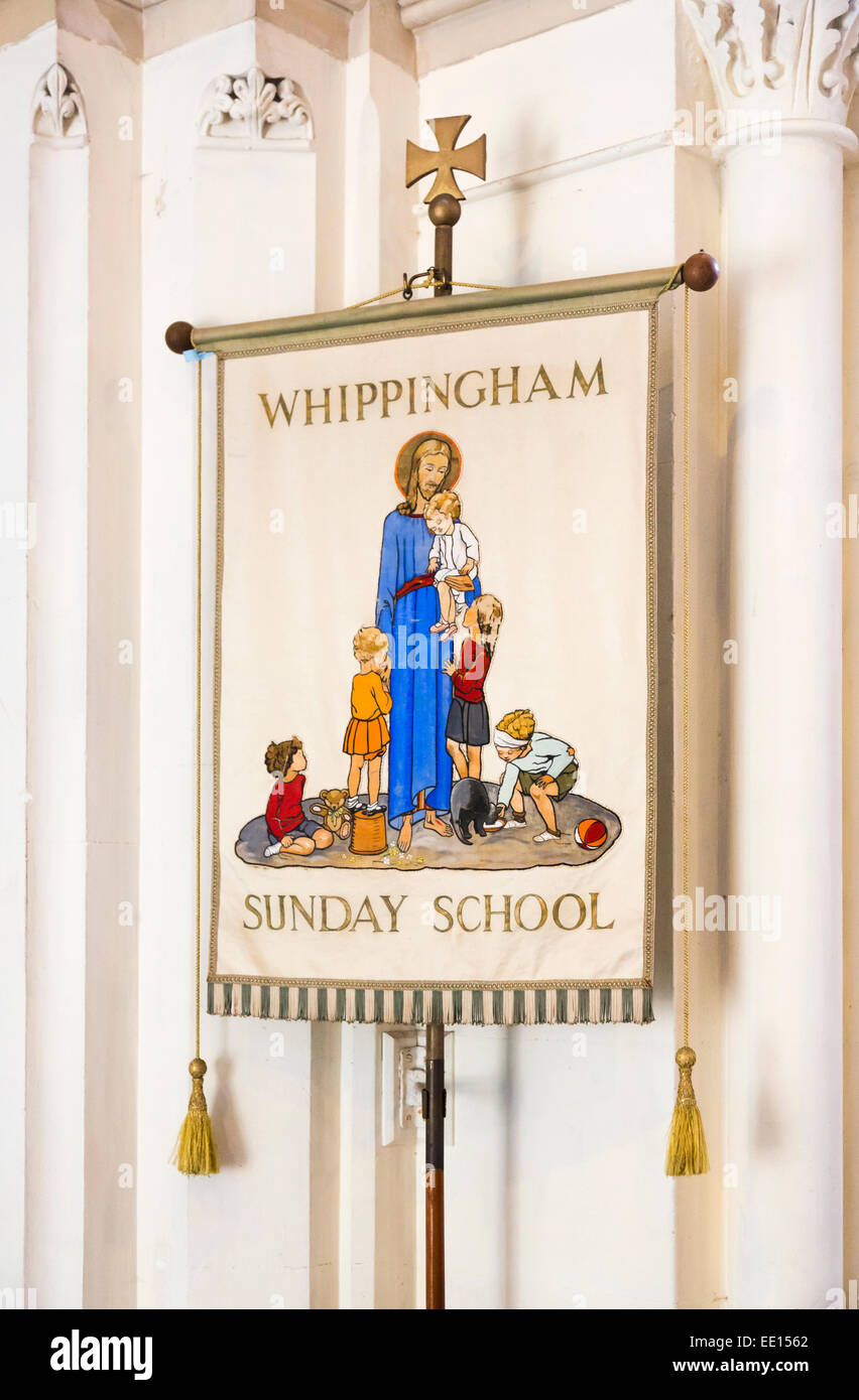 Banner for Whippingham Sunday School at St Mildred's Church, Whippingham, Isle of Wight, Hampshire, UK - Stock Image