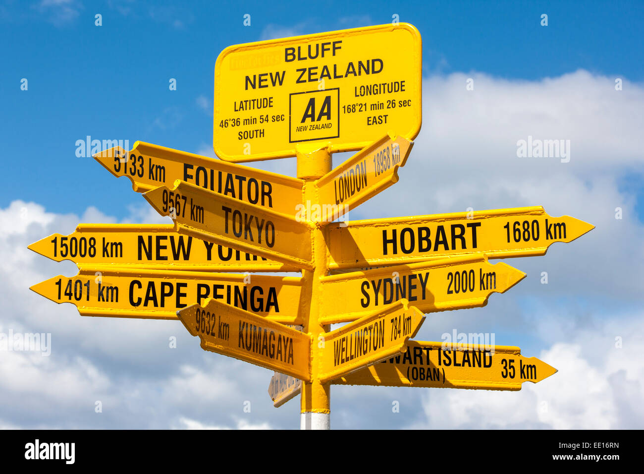 Remote signpost at Stirling Point in Bluff, New Zealand. Southern most town in New Zealand. End of State Highway - Stock Image