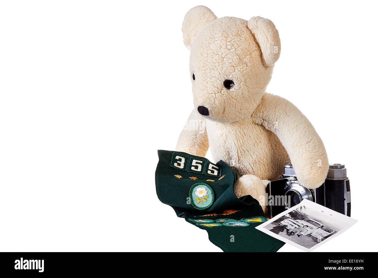 Old teddy bear with camera and badges - Stock Image