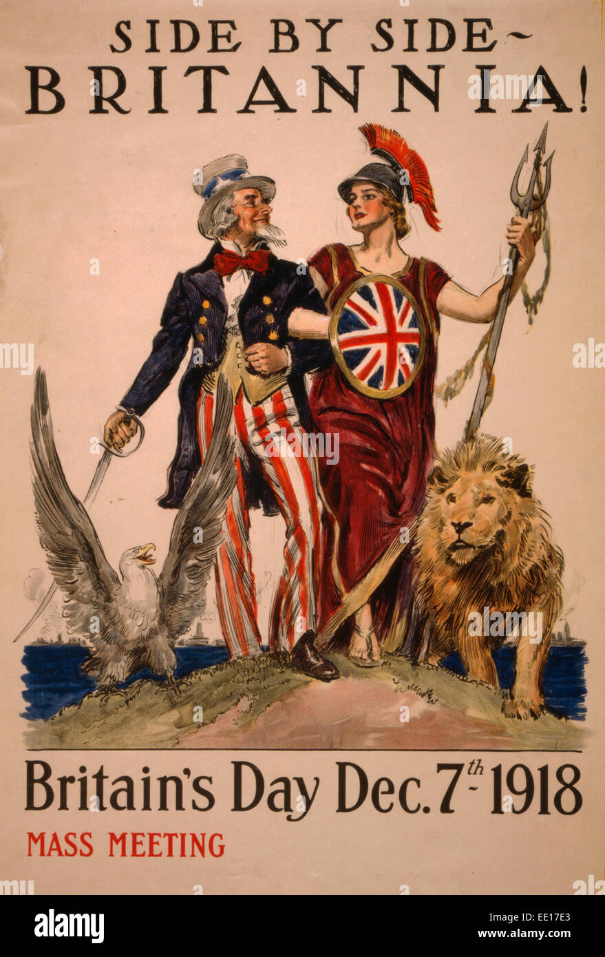 Side by side - Britannia! Britain's Day December 7th 1918 - Poster showing Uncle Sam arm-in-arm with Britannia, - Stock Image