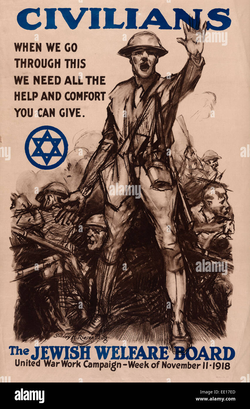 Civilians, when we go through this we need all the help and comfort you can give - The Jewish Welfare Board - Poster - Stock Image