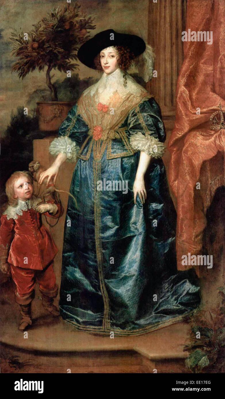 Henrietta Maria and the dwarf, Sir Jeffrey Hudson, 1633  Anthony van Dyck - Stock Image