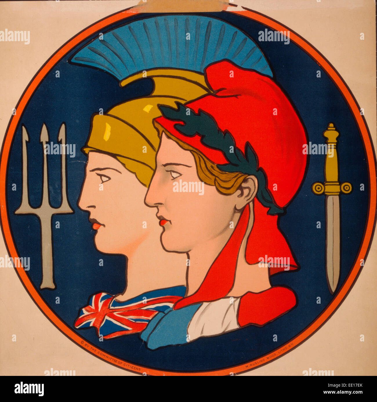 Emblem of France and Great Britain - Poster showing personifications of France and Great Britain, depicted in profile Stock Photo