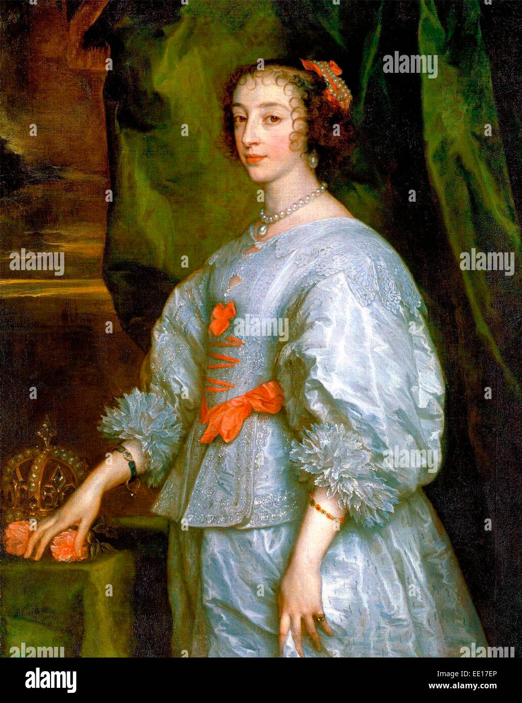 Princess Henrietta Maria of France, Queen consort of England. Anthony van Dyck, 1632 - Stock Image