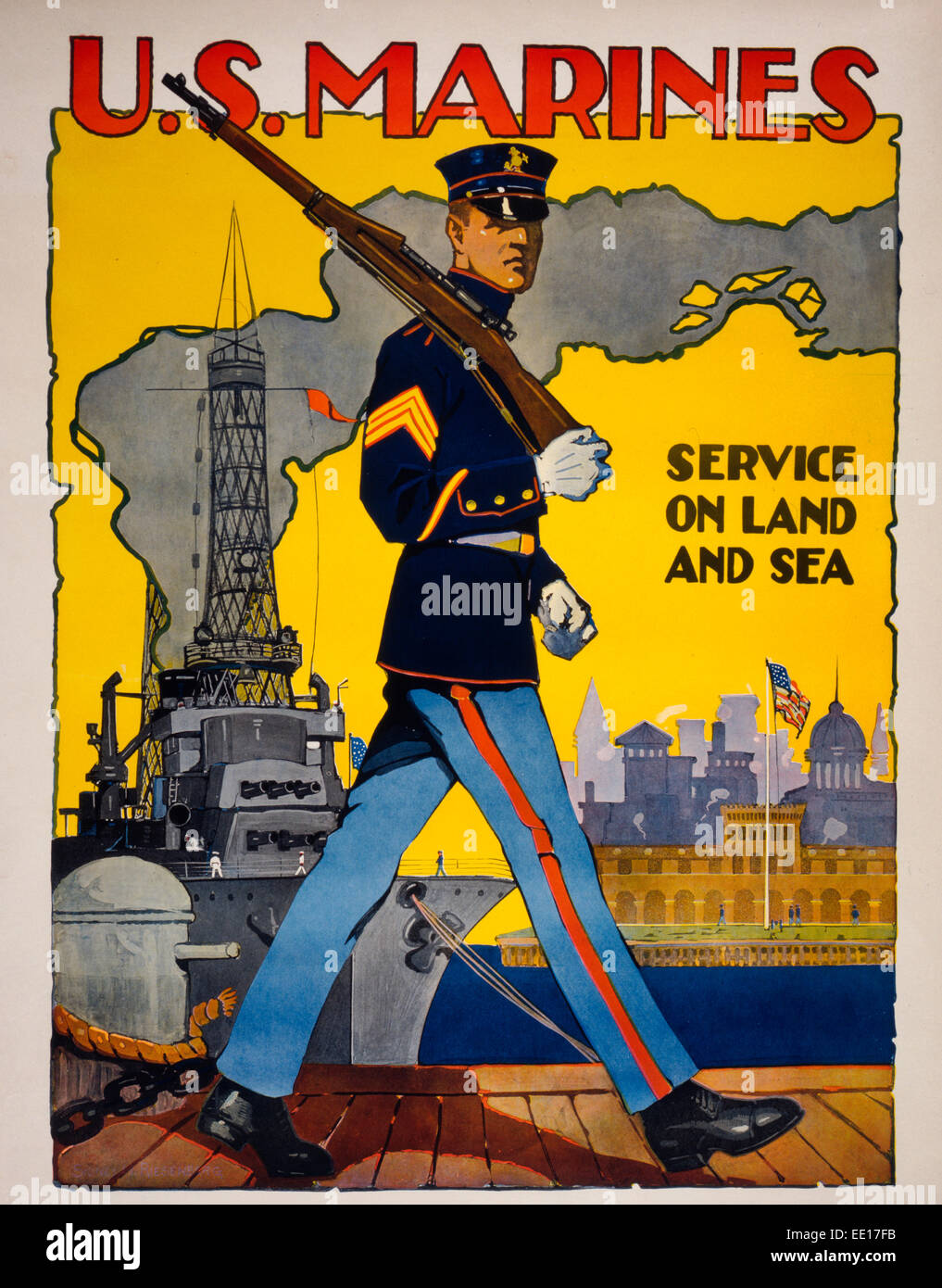 us marine corps service on land and sea recruiting poster showing a marine in