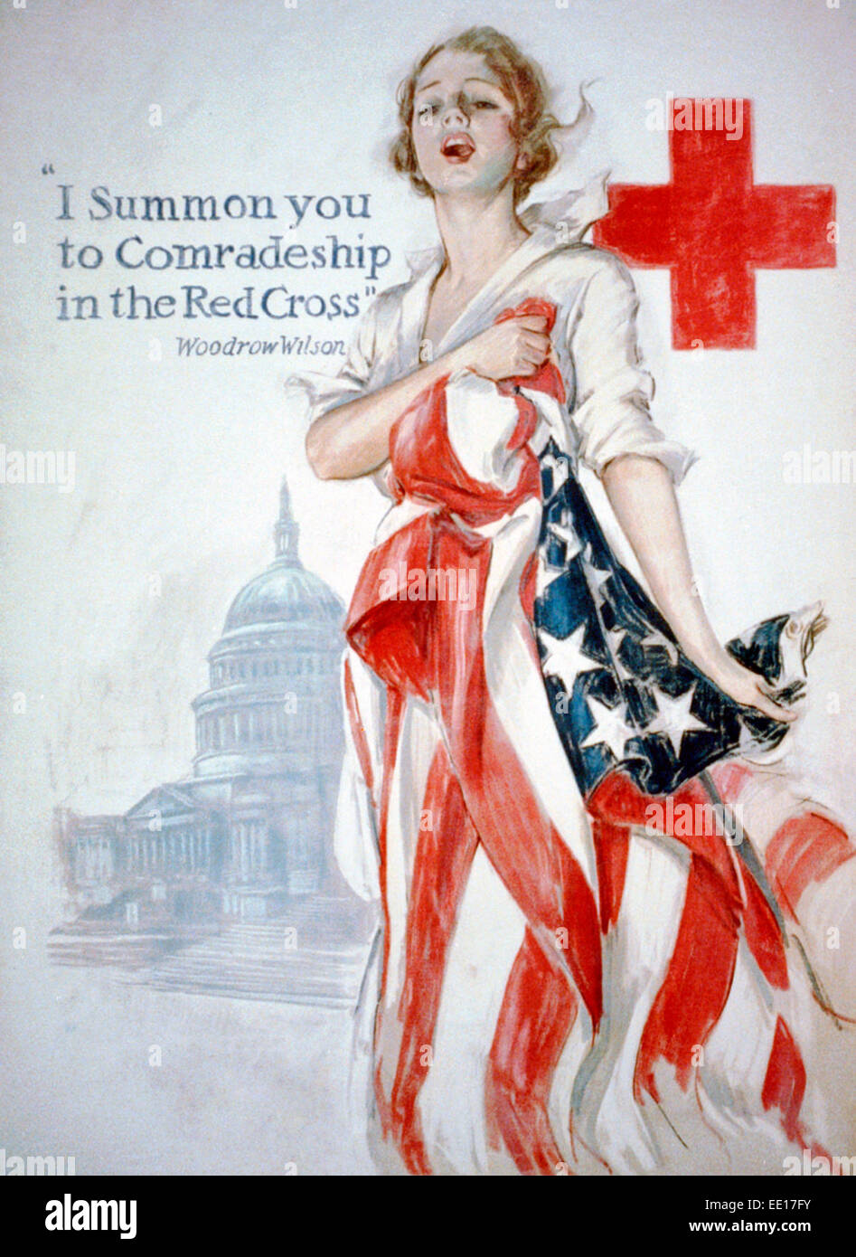 'I summon you to comradeship in the Red Cross' - Woodrow Wilson. World War I Poster showing a young woman - Stock Image