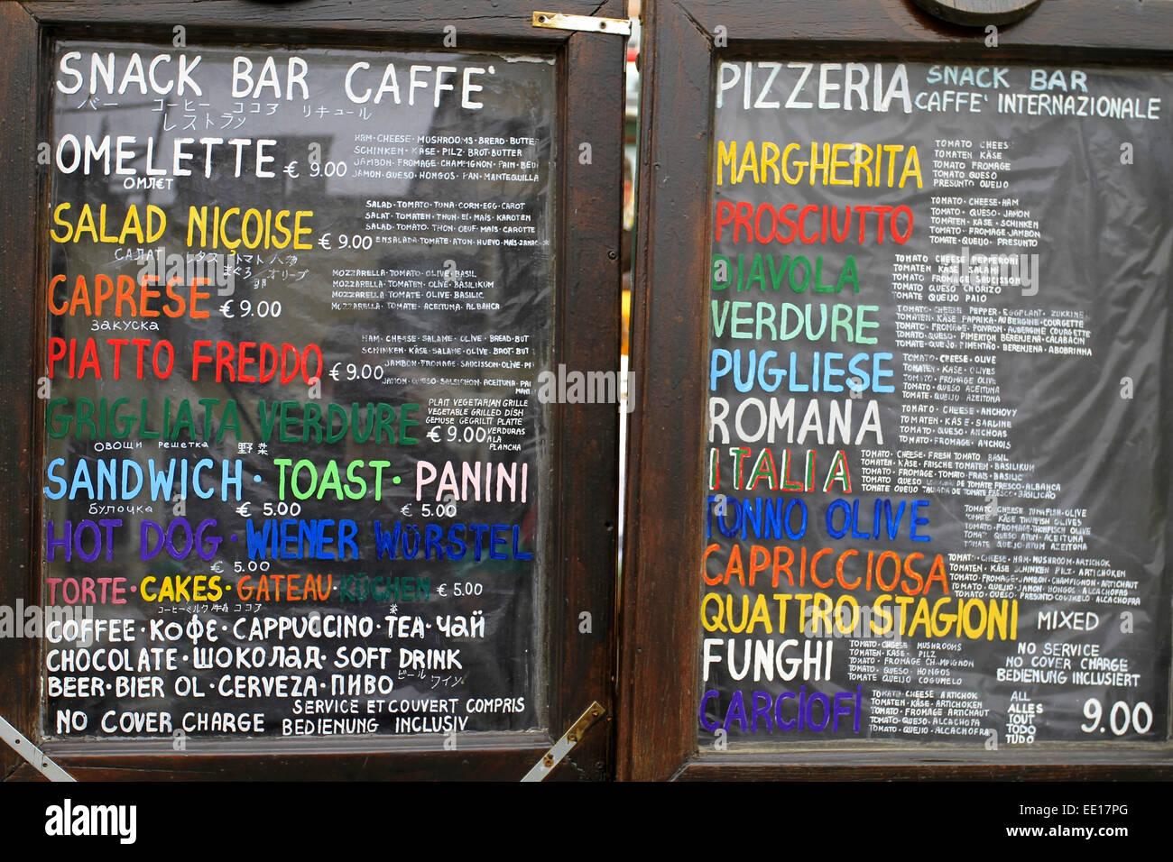 Tagesangebot, Speisekarte eines Restaurants in Venedig, Italien - Stock Image