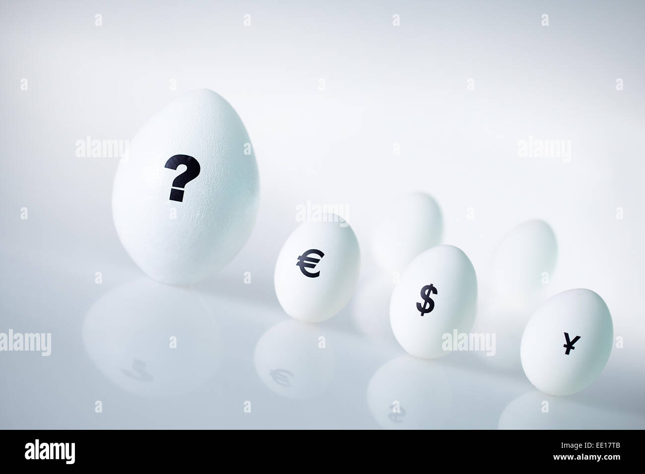 Egg showing unpredictable situation in economy - Stock Image