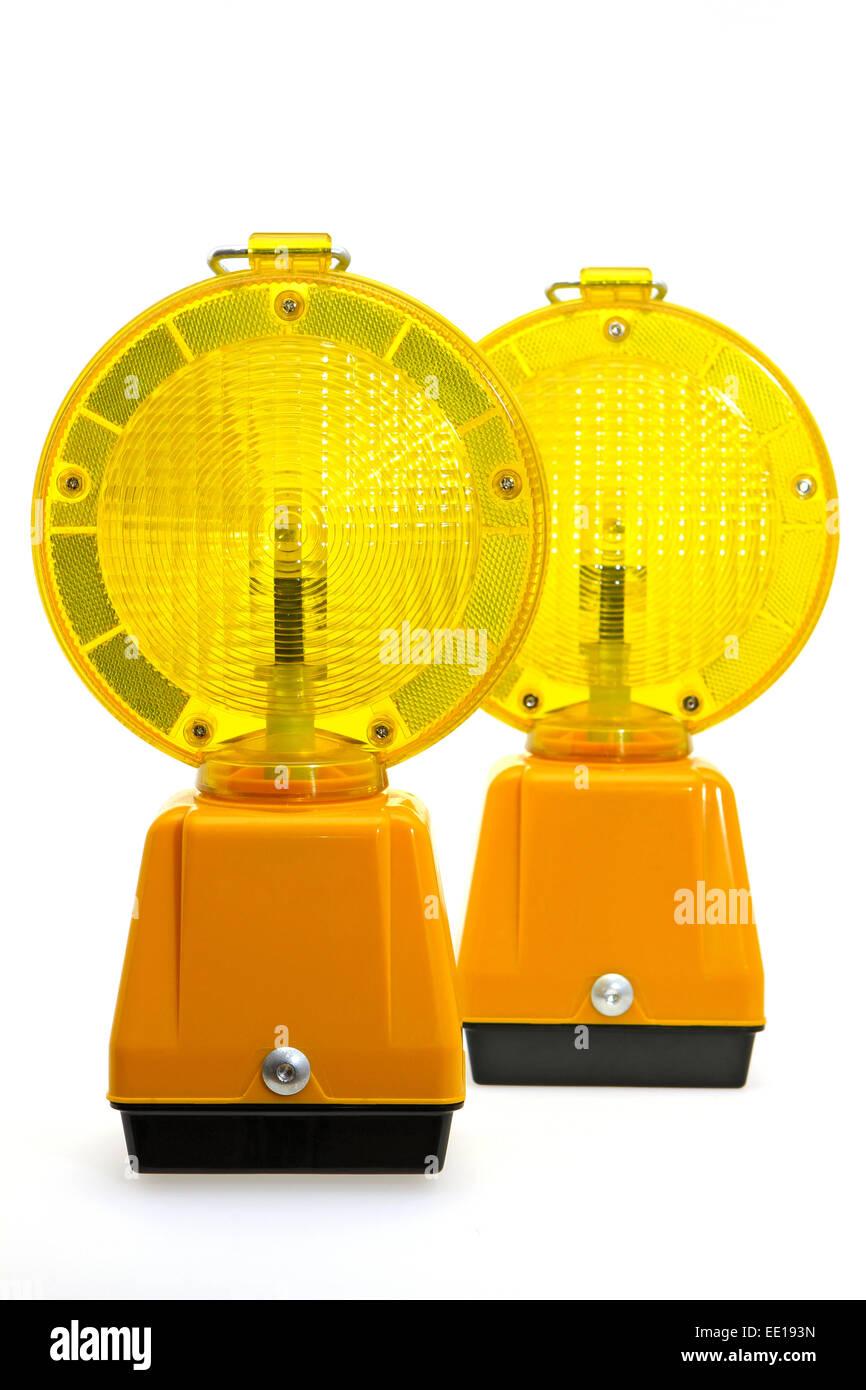 Gelbe Warnlampen, Baustellenabsicherung Stock Photo