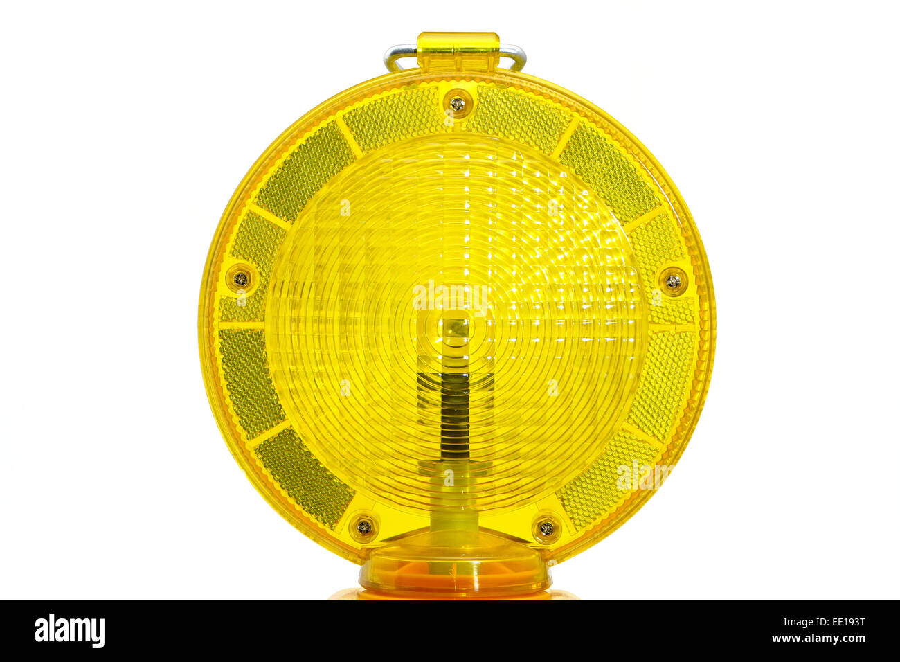 Gelbe Warnlampe, Baustellenabsicherung Stock Photo