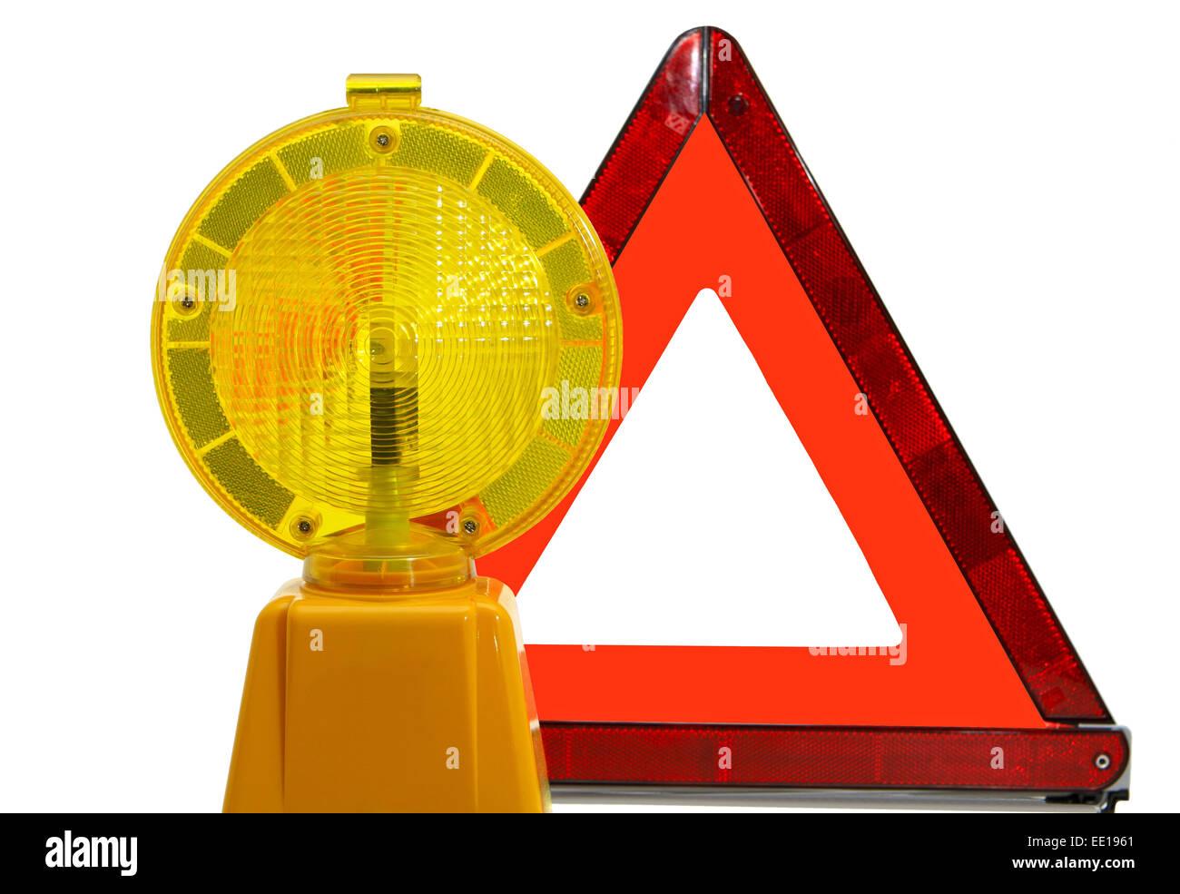 Gelbe Warnlampe und Warndreieck Stock Photo