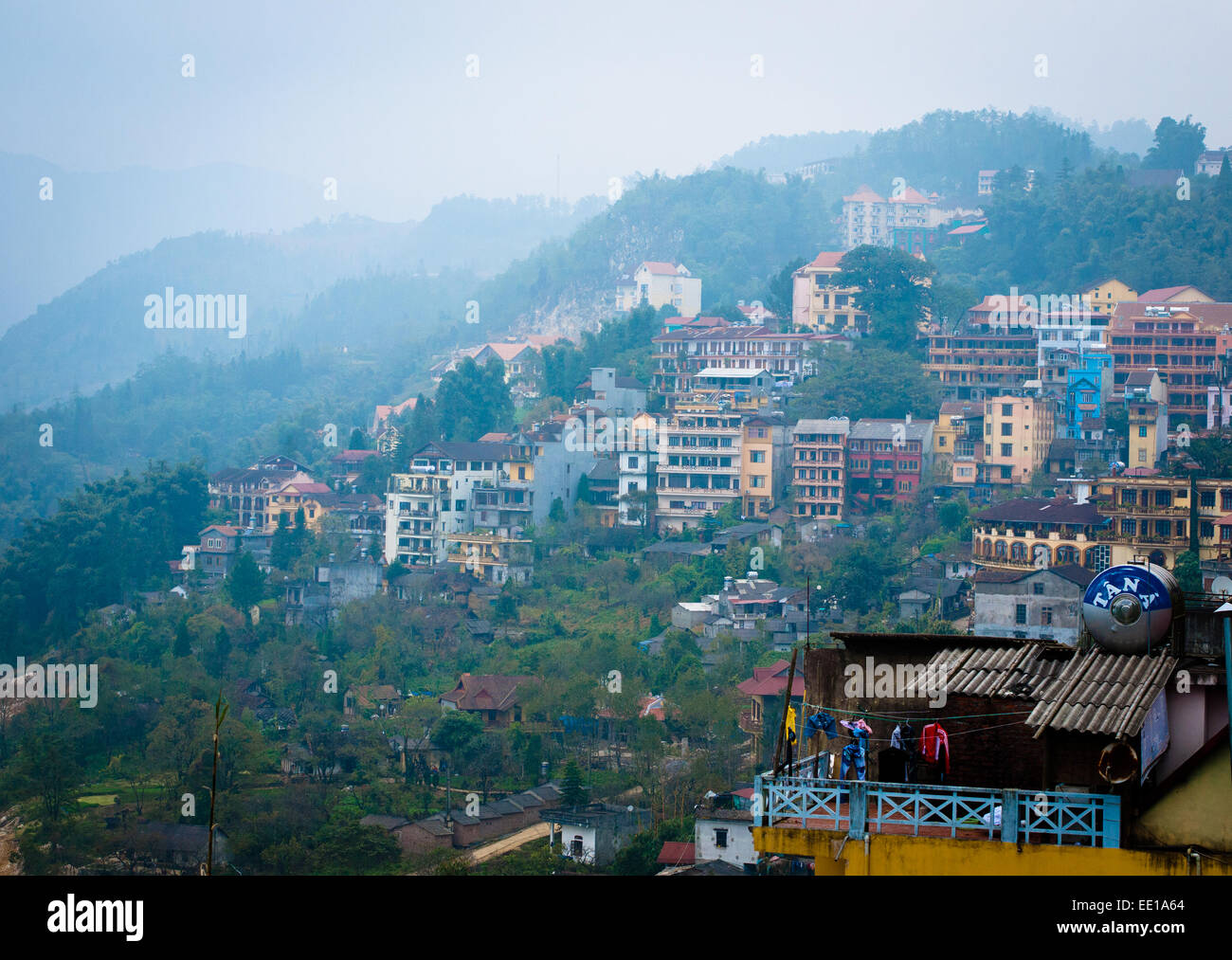 An aerial view of Sapa Town, Vietnam, on a rainy day. - Stock Image