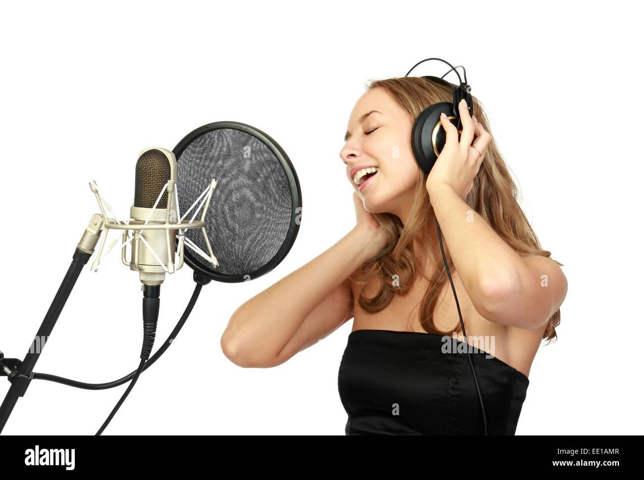 A girl sings - Stock Image