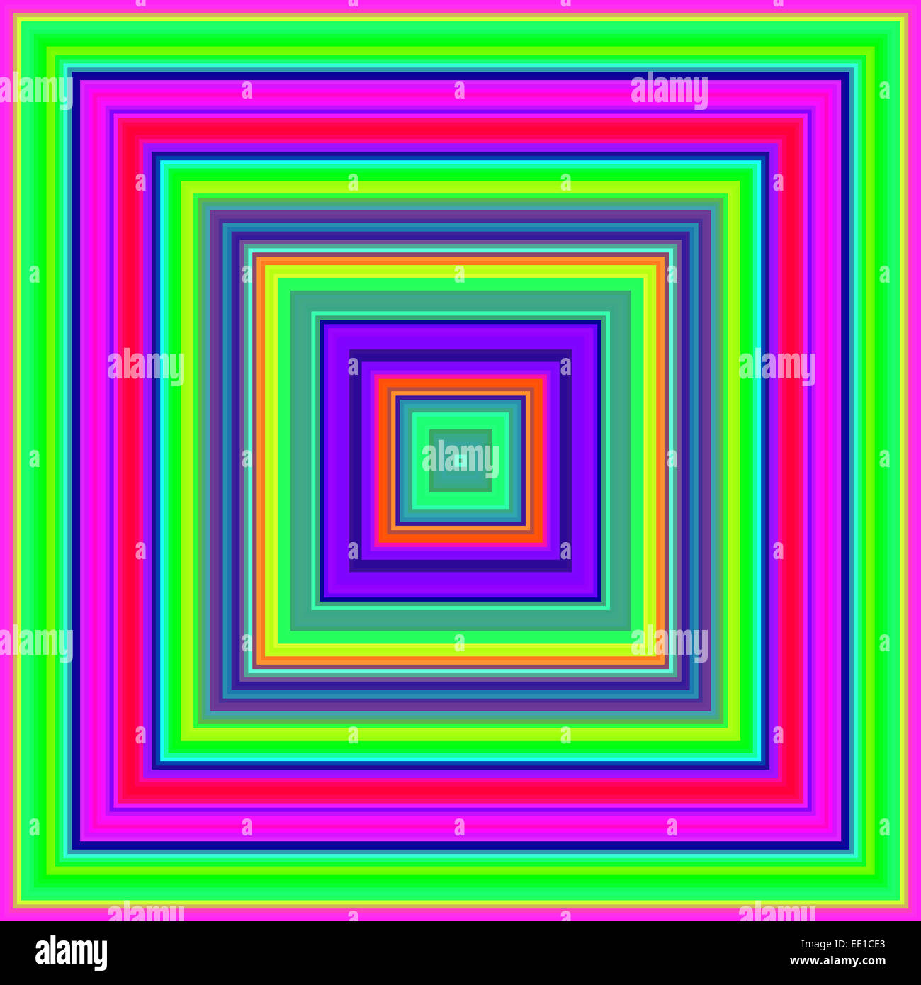 Psychedelic colours square shapes abstract. - Stock Image