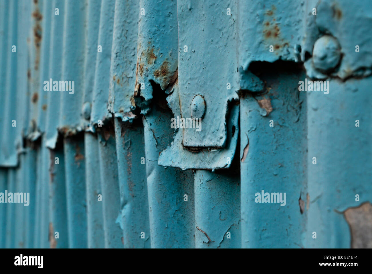 Timeworn corrugated steel on the Norfolk coast at Great Yarmouth, Norfolk, UK. - Stock Image