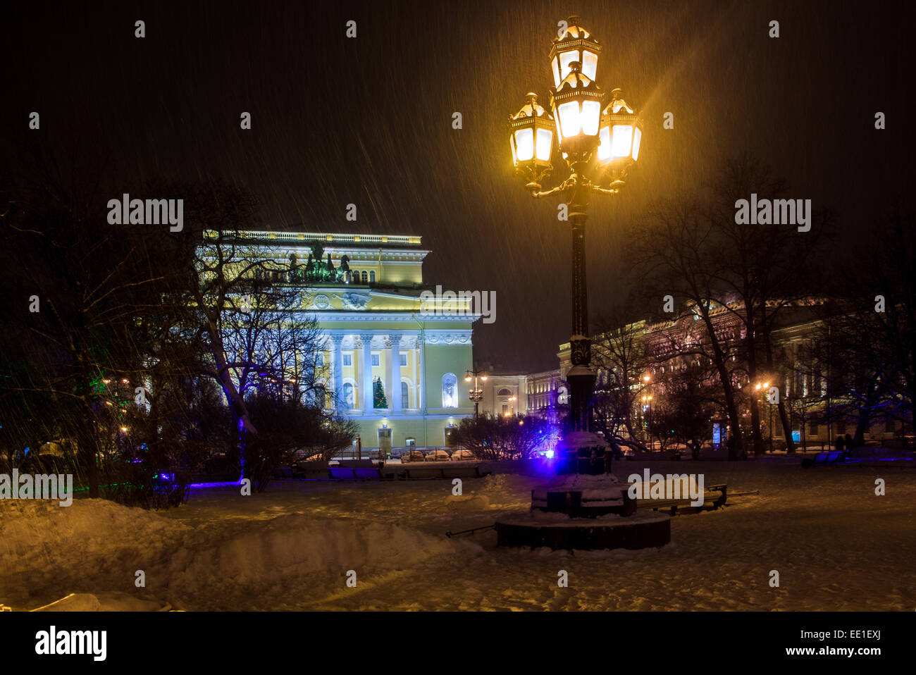 Alexandrinsky Theatre or Russian State Pushkin Academy Drama Theater St.Petersburg, Russia - Stock Image