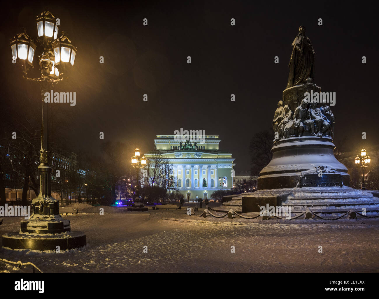 Alexandrinsky Theatre or Russian State Pushkin Academy Drama Theater and Monument Catherine II the Great. St.Petersburg, - Stock Image