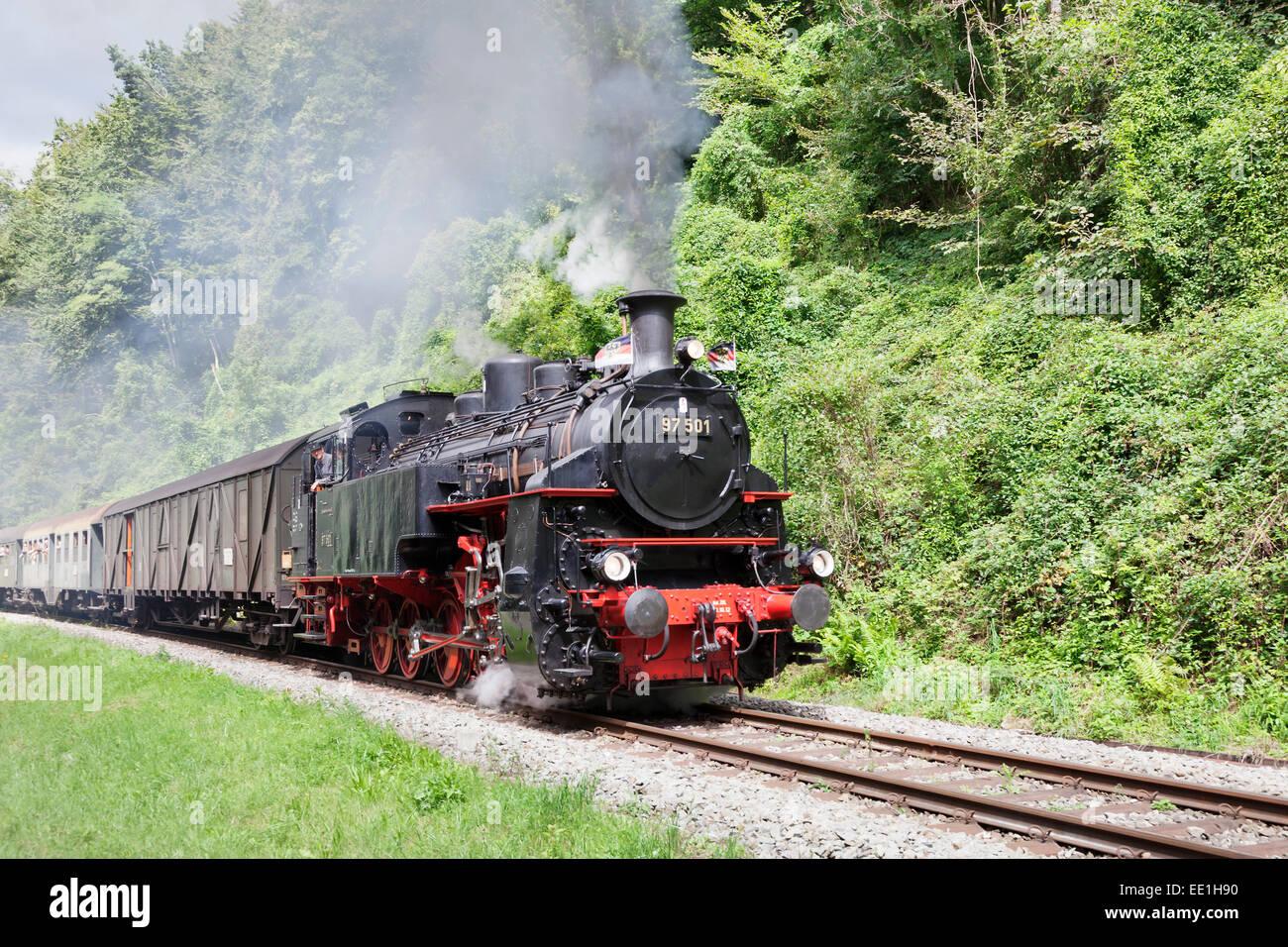 Schwaebische Waldbahn, steam train, Rudersberg, Swabian Forest, Rems Murr District, Baden Wurttemberg, Germany, - Stock Image