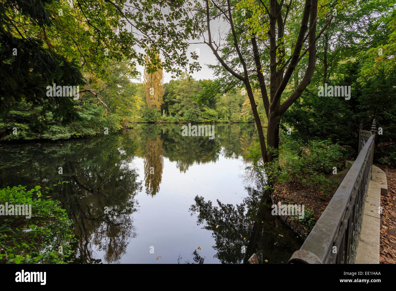 Autumn evening in Tiergarten Park, Lake with reflections, Berlin, Germany, Europe - Stock Image