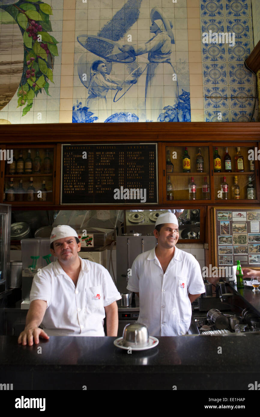 Waiters in a restaurant, Santos, Sao Paulo, Brazil, South America - Stock Image