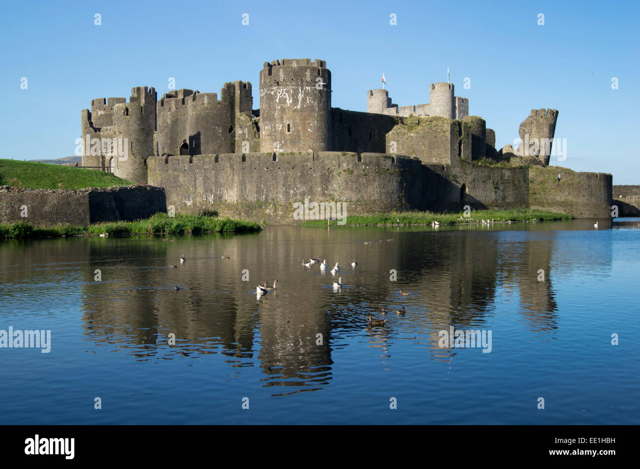 Caerphilly Castle, Caerphilly, Glamorgan, Wales, United Kingdom, Europe - Stock Image